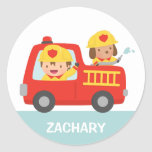Red Fire Truck with Fire fighter Boy and Puppy Round Sticker
