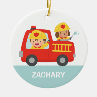 Red Fire Truck with Fire fighter Boys Room Decor Ceramic Ornament