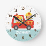 Red Fire Truck with Fire fighter Boys Room Decor Round Wall Clocks