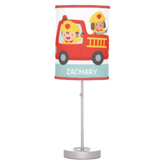 Red Fire Truck with Fire fighter Boys Room Decor Desk Lamp