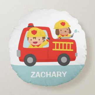 Red Fire Truck with Fire fighter Boys Room Decor Round Pillow