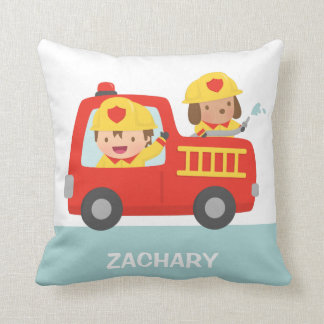 Red Fire Truck with Fire fighter Boys Room Decor Throw Pillow