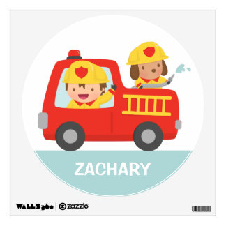 Red Fire Truck with Fire fighter Boys Room Decor Wall Sticker