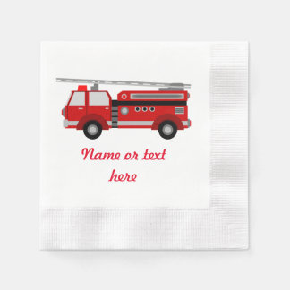 Red Fire truck with text Paper Napkin