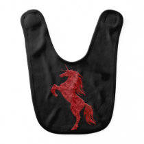 Red Fire Unicorn Baby Bib
