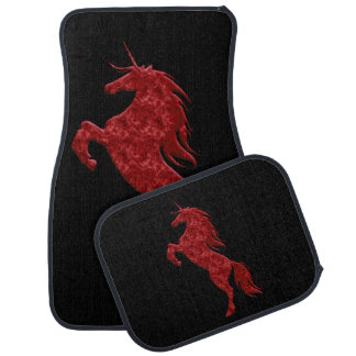 Red Fire Unicorn Car Mats