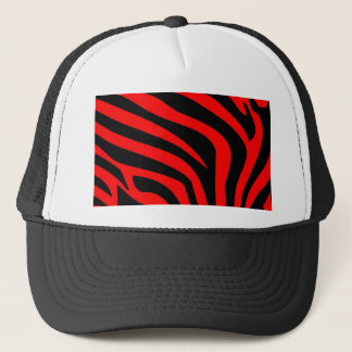 Red Fire Zebra Print Trucker Hat