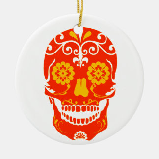 RED FIRED SKULL Double-Sided CERAMIC ROUND CHRISTMAS ORNAMENT