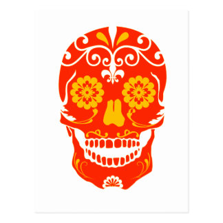 RED FIRED SKULL POST CARD
