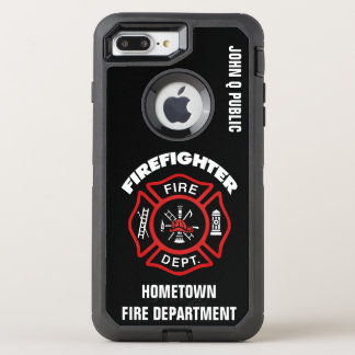 Red Firefighter Name Template OtterBox Defender iPhone 7 Plus Case