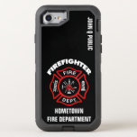 """Red Firefighter Name Template OtterBox Defender iPhone 8/7 Case<br><div class=""""desc"""">Red Fire Department logo. with your name and department. Great for firemen and first respondents.</div>"""