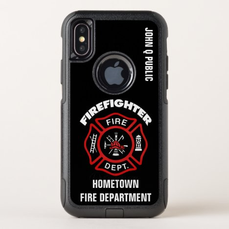 Red Firefighter Name Template OtterBox Commuter iPhone X Case