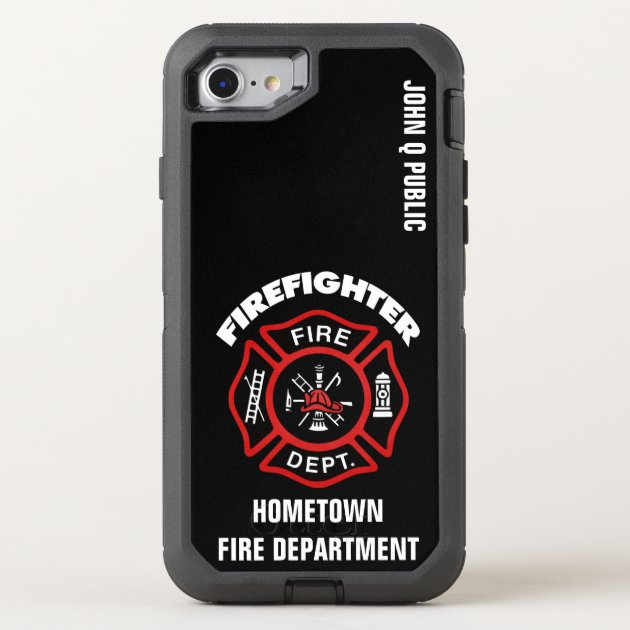 Red Firefighter Name Template OtterBox iPhone Case Zazzle.com