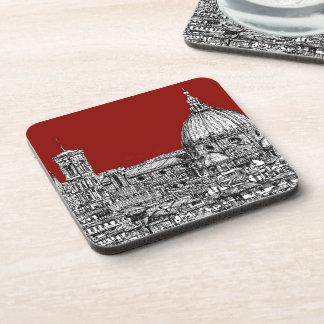 Red Firenze italia Beverage Coaster