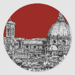 Red Firenze italia Classic Round Sticker