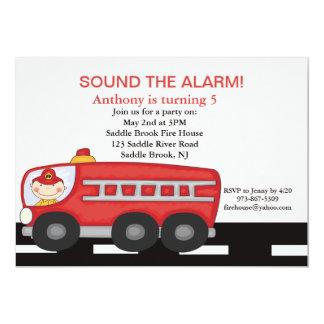 "Red, Firetruck Boys  Birthday Invitation 5"" X 7"" Invitation Card"