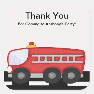 Red Firetruck Thank You Sticker