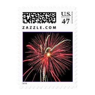 Red Fireworks Celebration Postage Stamp