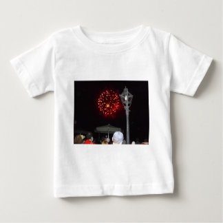 Red Fireworks Celebration with Lamppost Baby T-Shirt