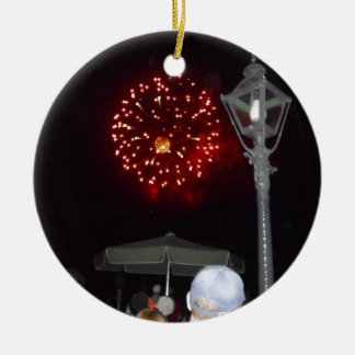 Red Fireworks Celebration with Lamppost Ceramic Ornament