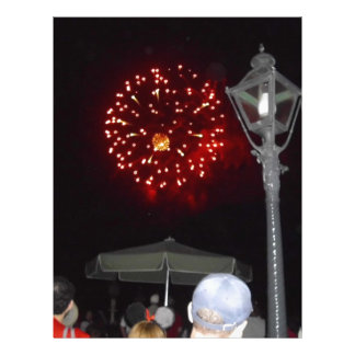 Red Fireworks Celebration with Lamppost Letterhead Template