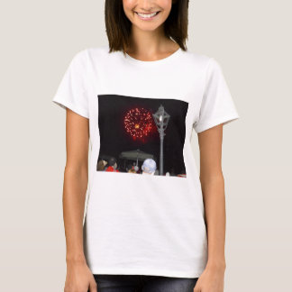 Red Fireworks Celebration with Lamppost T-Shirt