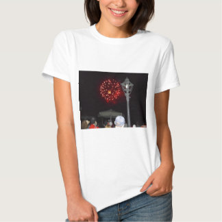 Red Fireworks Celebration with Lamppost Tee Shirt