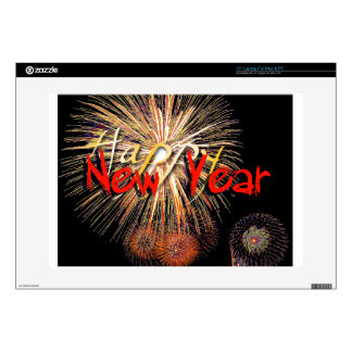 """Red Fireworks Happy New Year 2018 Skin 15"""" Laptop Skins"""