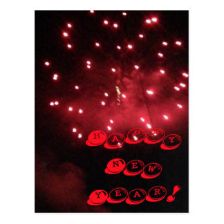 Red Fireworks Happy New Year PostCards