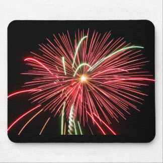 Red Fireworks Mouse Pad
