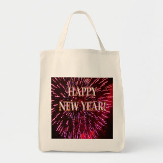 red fireworks new year's tote bag
