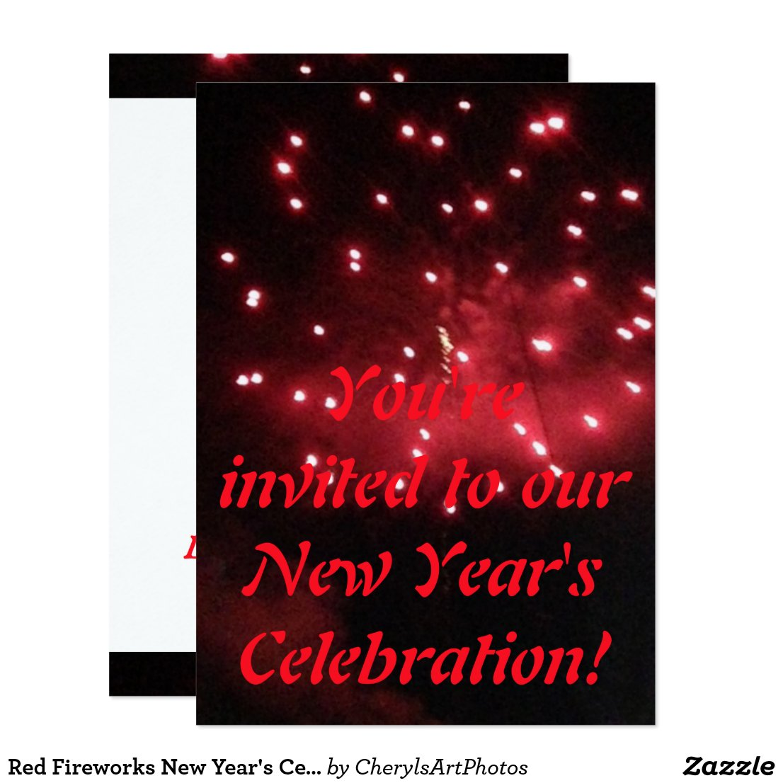 Red Fireworks New Year's Celebration Invitations