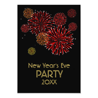 Red Fireworks New Years Party Invitation