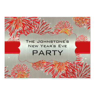 Red Fireworks on Silver New Year's Eve Party 5x7 Paper Invitation Card