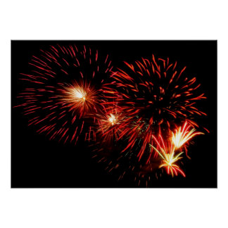 Red Fireworks Poster