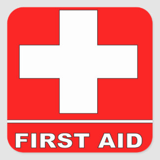 Red First Aid Sign Square Sticker