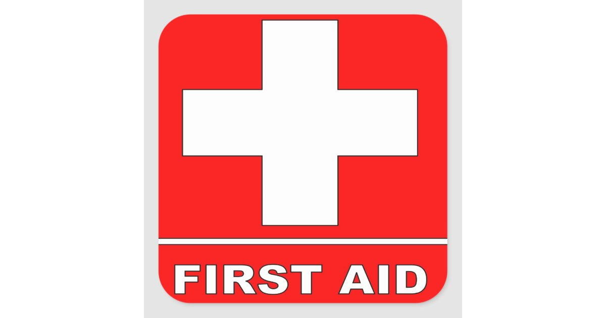 Red First Aid Sign Square Sticker Zazzle