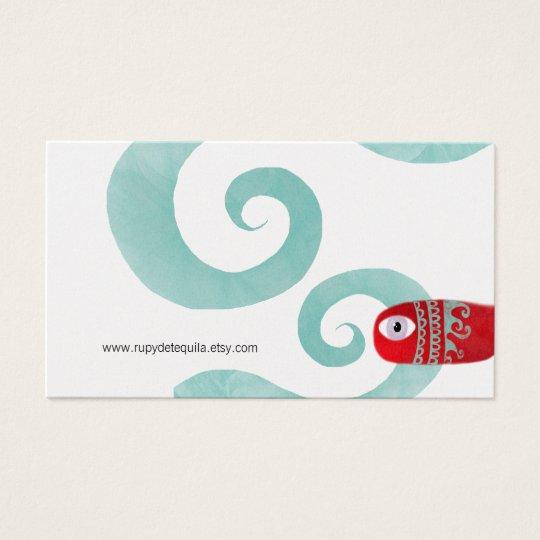 Red fish blue waves metallic finish platinnum silv business card