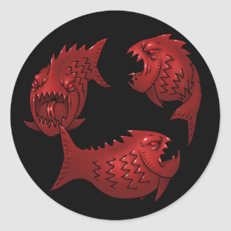 Red Fish Classic Round Sticker