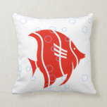 red  fish  on  white  PILLOW
