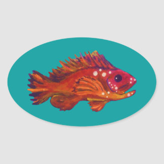 Red Fish Oval Sticker