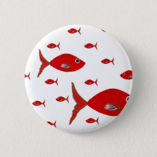 Red Fish Pinback Button
