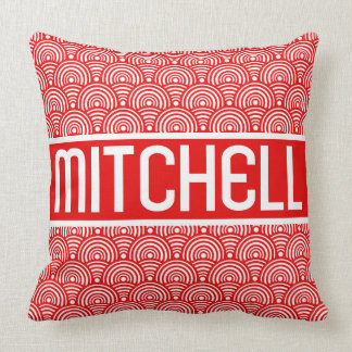 Red Fish Scale KB Personalized Throw Pillow