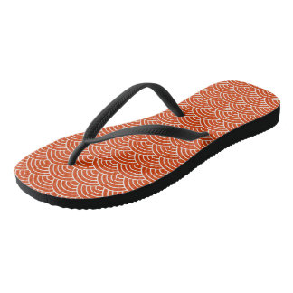 Red Fish Scales Flip Flops