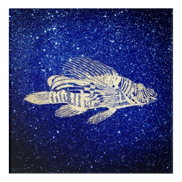 Beach Themed Red Fish Sea Life Blue Golden Foxier Navy Aqua Acrylic Wall Art