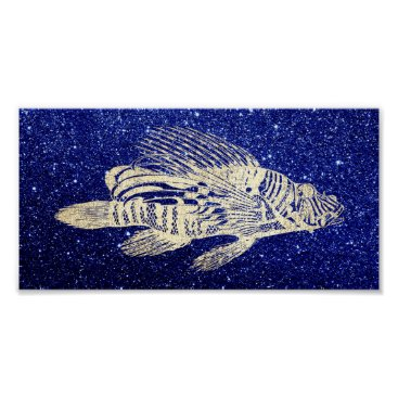 Beach Themed Red Fish Sea Life Blue Navy Beach Aqua Foxier Gold Poster