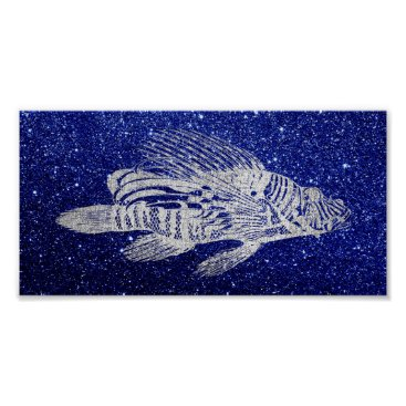 Beach Themed Red Fish Sea Life Blue Navy Silver Gray Beach Aqua Poster
