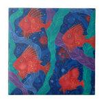 Red Fish, Seaweed Sea Ocean Animals Underwater Art Ceramic Tile