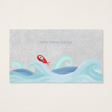 Professional Business Red Fish Surfing Waves Business Card