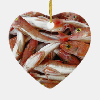 Red Fish with Yellow Eyes Ceramic Ornament
